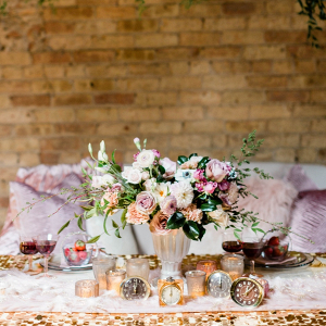 Peach and pink floral centerpiece