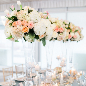 Tall peach wedding centerpieces