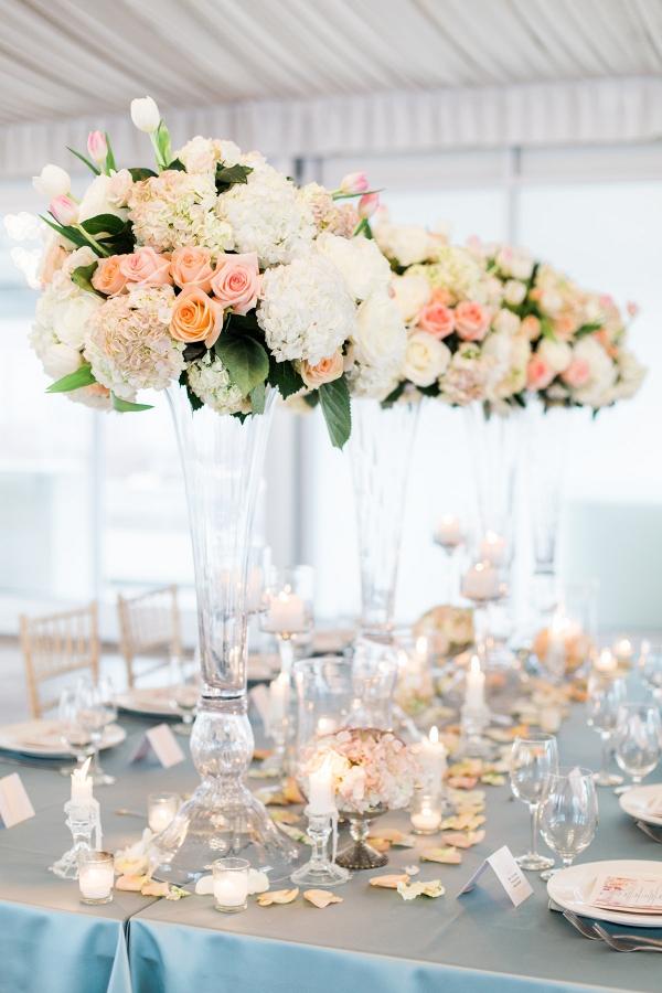 Tall peach wedding centerpieces