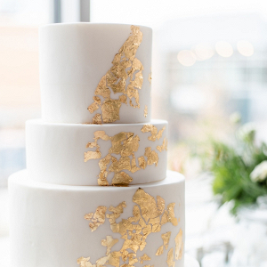 Gold flaked wedding cake