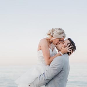 Chicago lakeside wedding portrait
