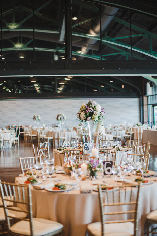 Purple and cream wedding reception