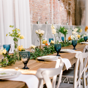Blue and orange farm house wedding table