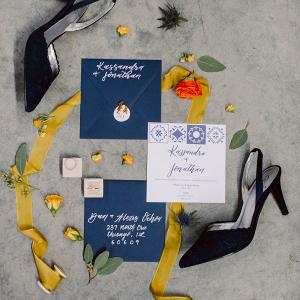 Spanish tile inspired wedding invitation