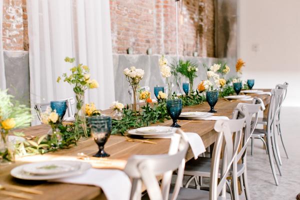 Blue and orange farm house wedding table