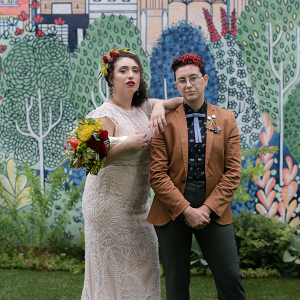 Mural backdrop wedding portrait
