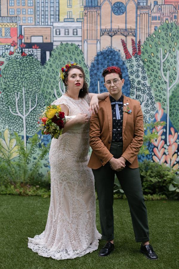 Mural backdrop wedding portrait
