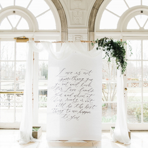 Calligraphy quote wedding backdrop
