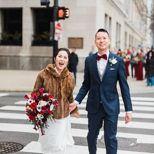 Winter Chicago bride and groom