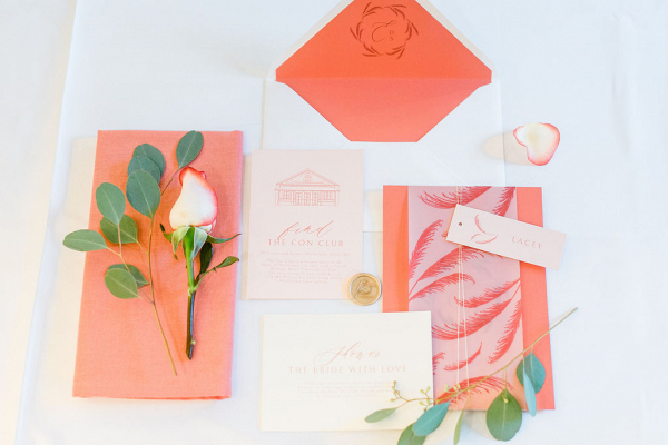 Coral illustrated invite with pampas grass details