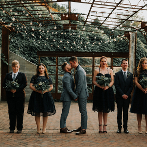 Black and gray wedding party