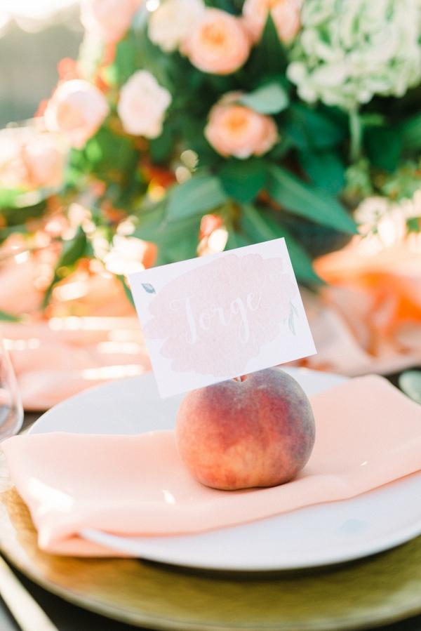 Peach place setting