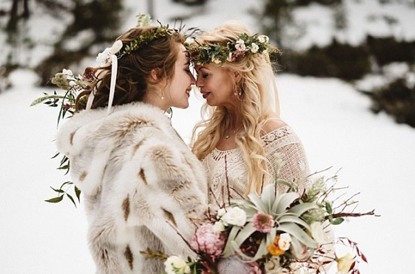 Wintery boho brides
