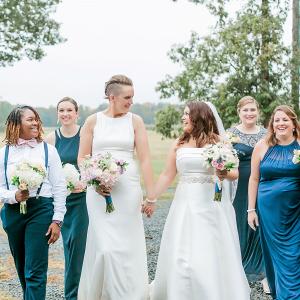 Blue bridal party