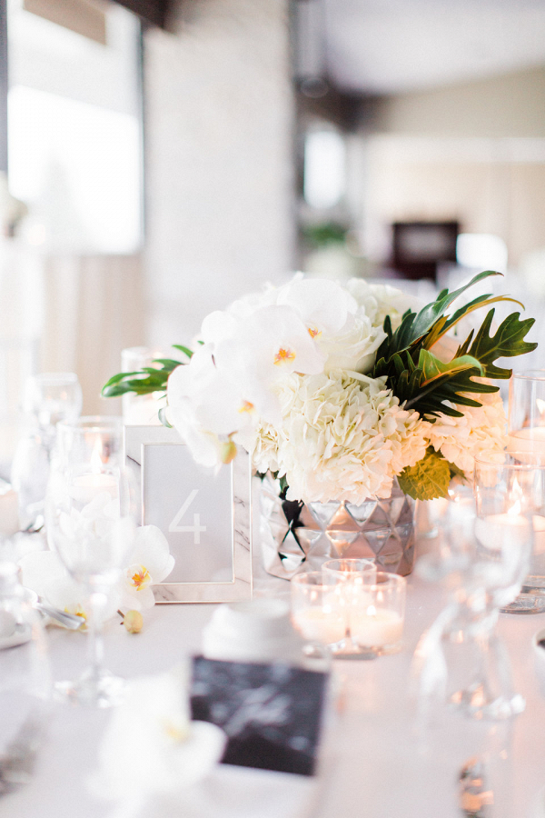 White and gray wedding centerpiece