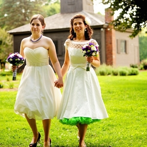 Green Crinoline Skirt with Wedding Dress