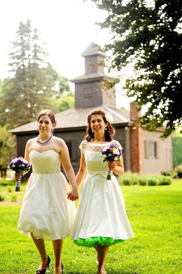 Green Crinoline Skirt with Wedding Dress