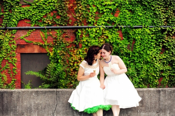 Two Brides with Ice Cream