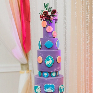 Tall purple wedding cake