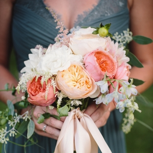 Pink and Peach Dahlia Bridesmaid Bouquet
