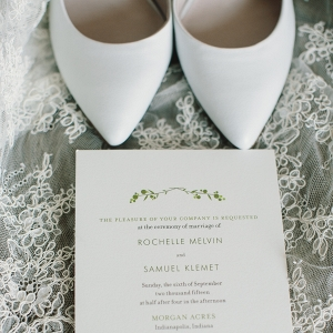 White Bridal Shoes and Minted Wedding Invitation