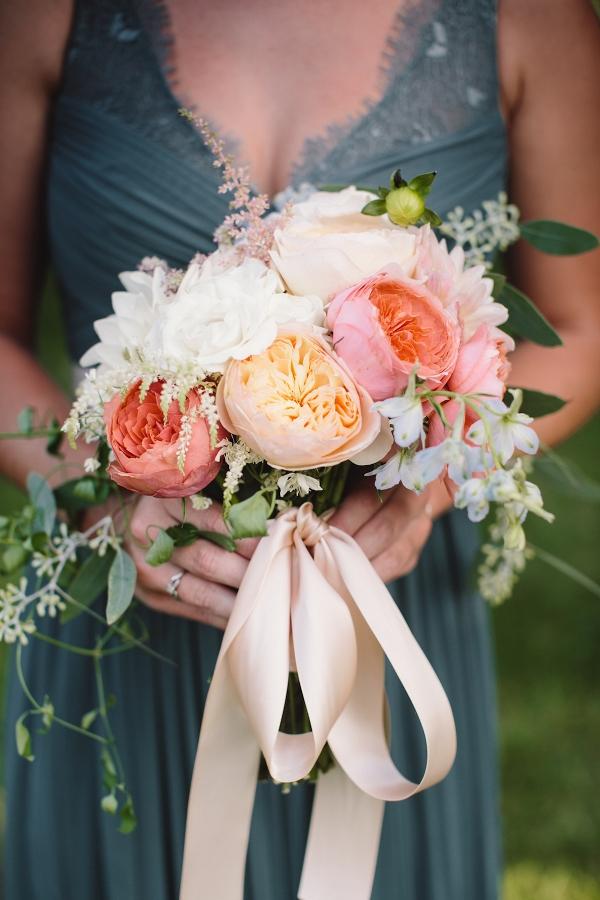 Pink and Peach Dahlia Bridesmaid Bouquet