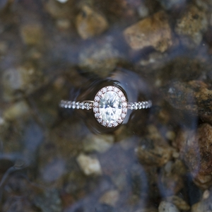 Oval Shaped Engagement Ring with Pink Diamonds