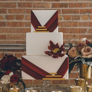 red-geometric-wedding-cake
