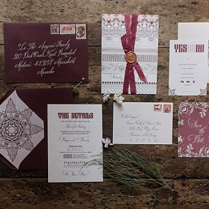 Burgundy invitation suite