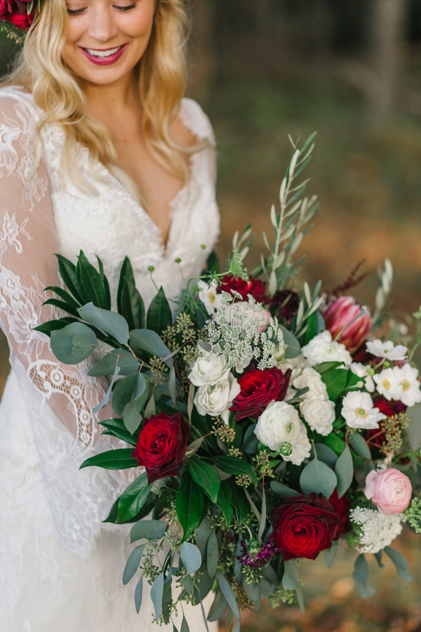 Lush red and white bouquet
