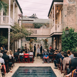 Outdoor poolside ceremony