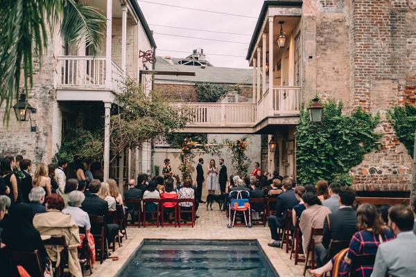 Outdoor poolside ceremony