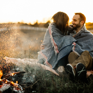 Campfire engagement session