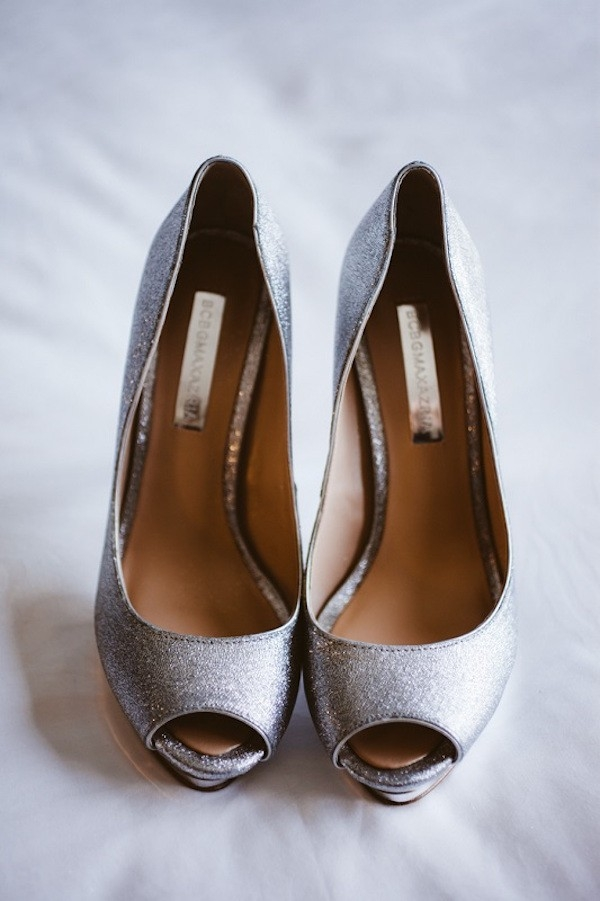 Peep-toe Silver Wedding Shoes by BCBG Max Azria