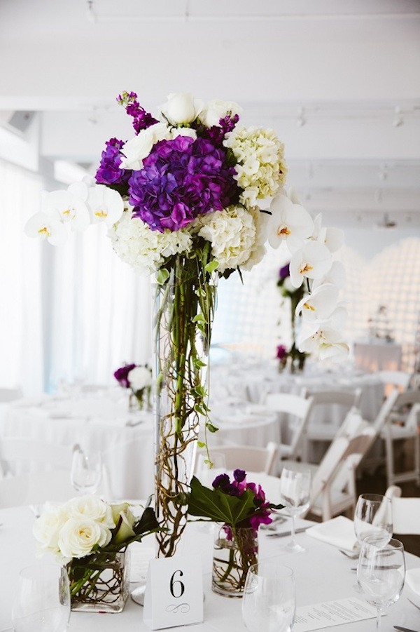 Purple and White Tall Centerpieces