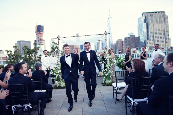Jewish wedding with birch tree chuppah at Tribeca Rooftop in New York City