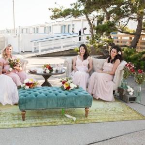 Bridesmaids in vintage lounge