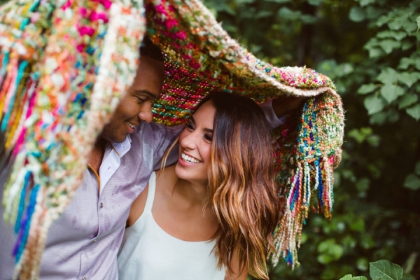 Blanket for Engagement Session in the Woods