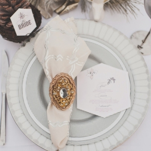 White and Gold Winter Wedding Place Setting