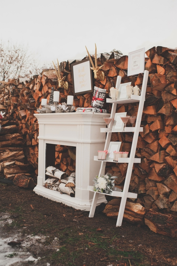 Fireplace Styled Station for Winter Wedding