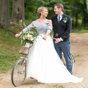 Bride and groom on bike