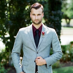 Gray and Burgundy Grooms Suit