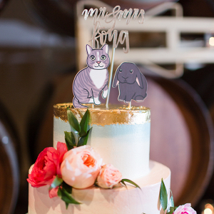 Pet Cake Toppers on Watercolor Cake