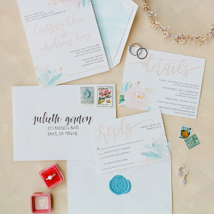 Watercolor Invitation Suite Flatlay
