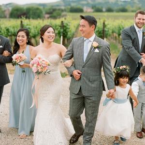 Blue Bridesmaid Dresses at Vineyard Wedding