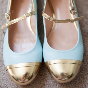Gold-Tipped Blue Bridal Shoes