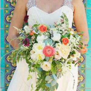 Organic Bridal Bouquet with Elizabeth MacKenzie Dress