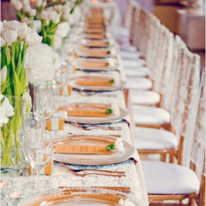 Gold and Ivory Wedding Tablescape with Tulips