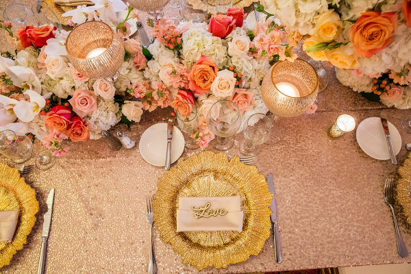 Peach and gold tablescape
