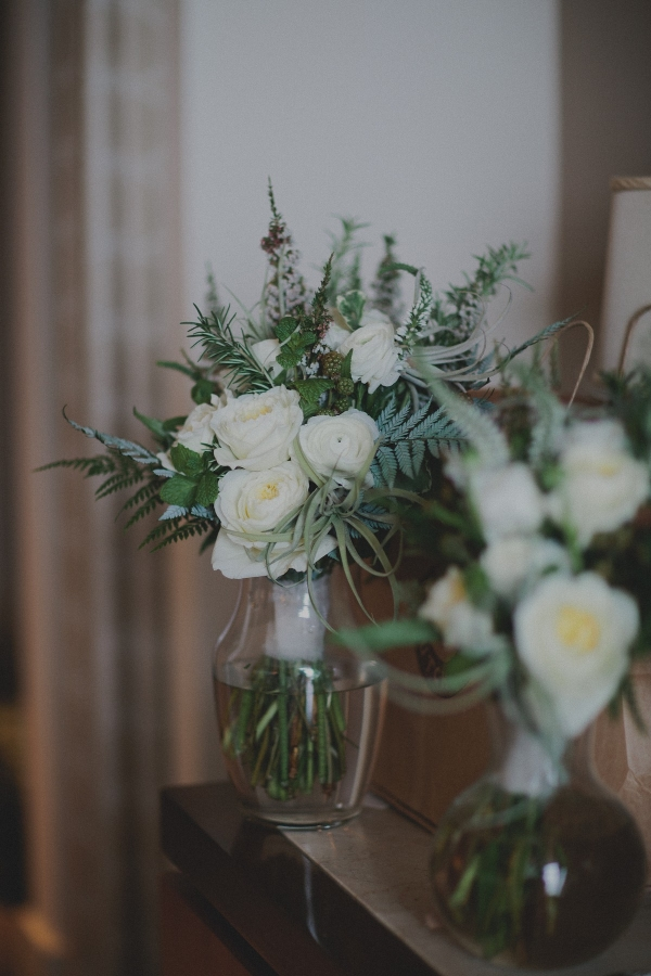 Greenery Bouquet with White Roses and Ranunculus